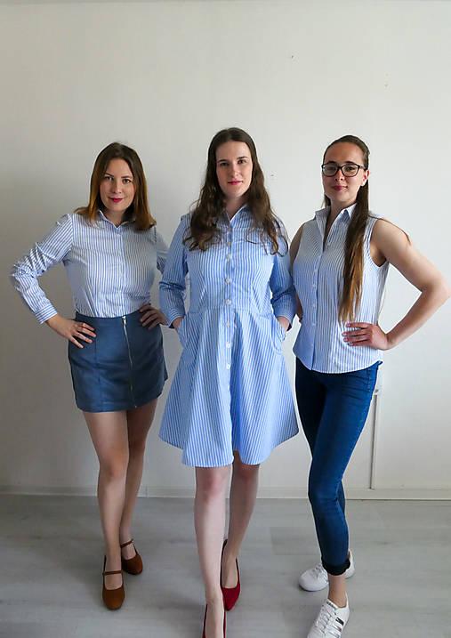 Šaty - Košeľové šaty s bielymi prúžkami na modrom podklade - 13248672_