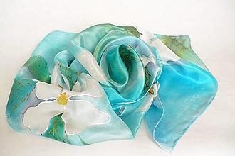Šatky - Květy na vodě. Hedvábná šála. - 13251532_