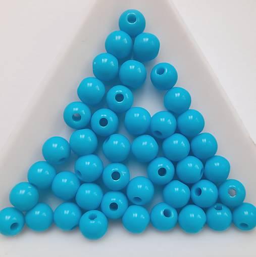 Korálky COLOR plast 6mm-modrá-50ks