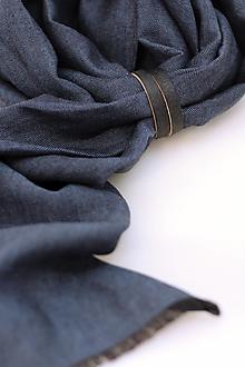 """Doplnky - Exkluzívna pánska šatka z modrého ľanu so vzorom """"herringbone"""" - 13252105_"""