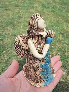 Socha - Spievajúci anjeli (Tyrkysová s patinou) - 13252962_