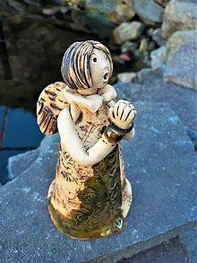 Socha - Spievajúci anjeli (olivovozelená s patinou) - 13252972_