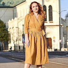 """Šaty - KARINA - zavinovacie ľanové šaty """"rôzne farby"""" - 13254388_"""