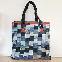 Veľké tašky - Rifľová MOZAIKA taška - 13254560_