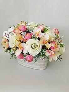 Dekorácie - Spomienková dekorácia s ružami - 13251784_