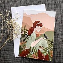 """Papiernictvo - Pohľadnica """"Dievča s motýľom"""" - 13251681_"""