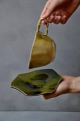 Nádoby - šálka kubistická oranžovo jahodovo zelená - 13252776_