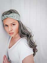 Ozdoby do vlasov - Vyšívaná ľanová turbanová čelenka s uzlíkom OLD GREEN  - 13253792_