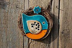 Dekorácie - Vtáčik vo venčeku č. 140 - 13251553_