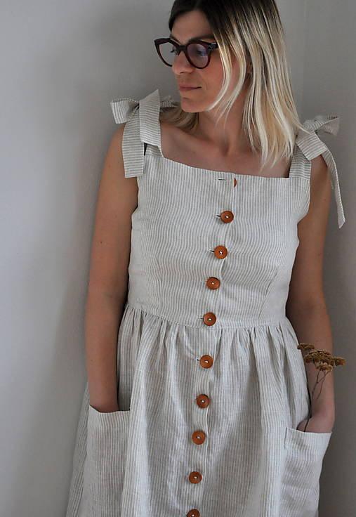 Šaty - Ľanové dámske zapínacie šaty  - 13255574_