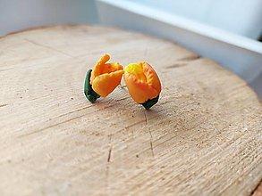 Náušnice - Tulipánky oranžové - 13259160_