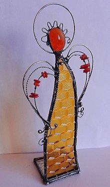 Svietidlá a sviečky - Vitrážový anjel-svietnik - 13258758_