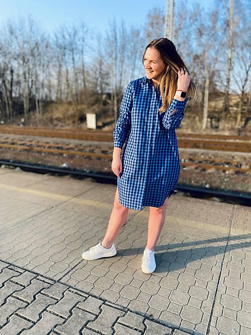 Šaty - Modro-modré kostkované košilové šaty - 13257632_