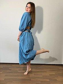 Šaty - ľanové šaty jedinečného strihu🌴🍀🌼 - 13255644_