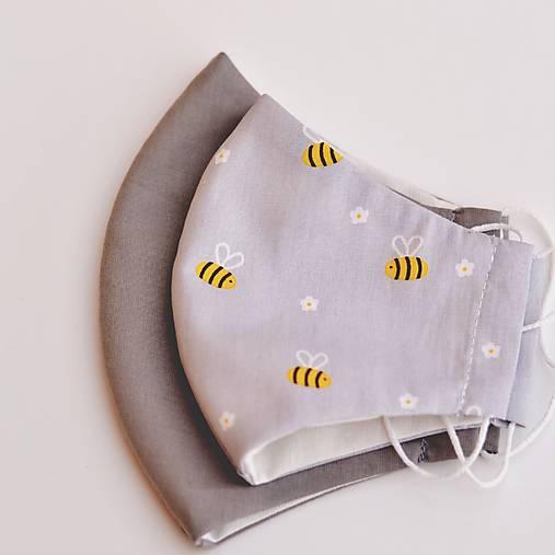 VČIELKY na šedej rúško so striebrom dvojité na filter - 4 veľkosti