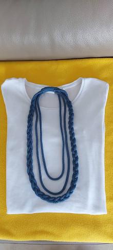 Náhrdelníky - Textilný šperk modrý - 13257241_