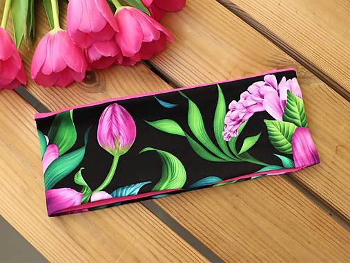 Úpletová čelenka tulipány fialové