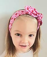 Detské doplnky - Detská čelenka na viazanie s dekoračným uzlíkom - RUŽOVÉ JABĹČKA - 13259563_