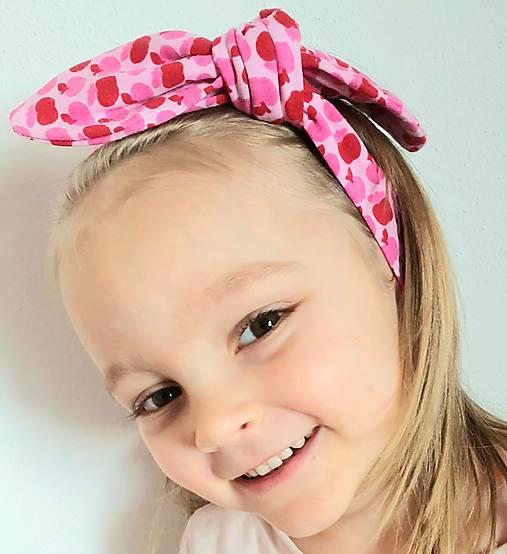 Detská čelenka na viazanie s dekoračným uzlíkom - RUŽOVÉ JABĹČKA