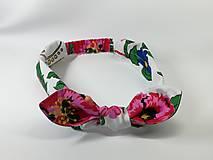 Ozdoby do vlasov - Čelenka ,cyklámenové kvety na bielej - 13262503_