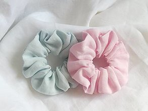 Ozdoby do vlasov - Scrunchie -set, ľanové , pastelové - 13262637_