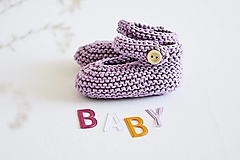 Detské topánky - Bavlnené balerínky pre bábätko  (fialová - 6 až 12 mes.) - 13261894_