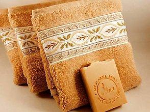 Úžitkový textil - Bežový uterák s bordúrou - 13259616_