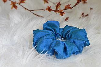 Ozdoby do vlasov - Hodvábna gumička-modrá - 13262577_