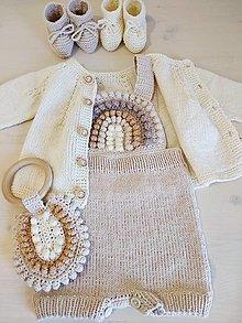 Detské oblečenie - Dúha v hnedej: gaťule + hryzátko - 13260240_