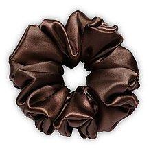Ozdoby do vlasov - Saténová scrunchie | MAXI (Chocolate (tmavohnedá)) - 13260588_