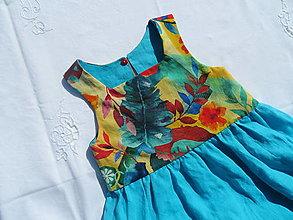 Detské oblečenie - Obojstranné ľanové šaty (Orchidea) - 13262123_