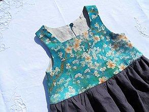 Detské oblečenie - Obojstranné ľanové šaty (Sakura) - 13262153_
