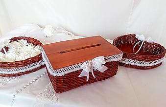 Košíky - Svadobná krabička čerešňová, s otvorom / ks - 13259988_