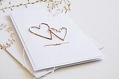 Papiernictvo - Svadobný pozdrav - metalické srdiečka - 13263979_