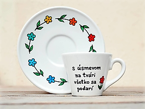 Nádoby - Porcelánová šálka s podšálkou na kávu (130 ml) - Úsmev - 13265410_