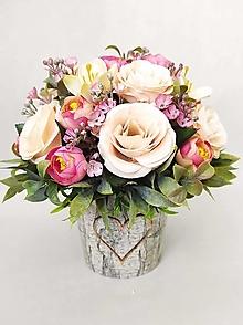 Dekorácie - Kytička s ružami v kvetináči - 13264383_