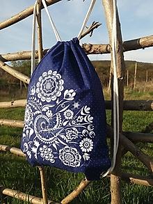 Batohy - Vak s Vajnorským ornamentom MODRÝ - 13266688_