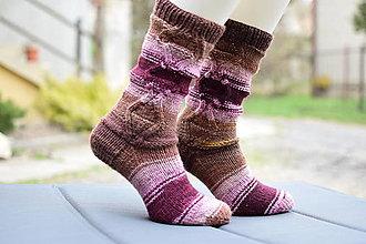 Obuv - hnedo ružové vysoké ponožky ( v.37-38) - 13265422_