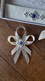 Pierka - Svadba ivory - modrý kamienok - 13264237_