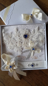 Pierka - Svadba ivory - modrý kamienok - 13264245_