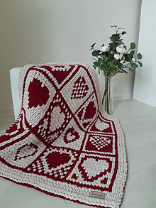 Úžitkový textil - Pletená patchwork deka - 13266031_