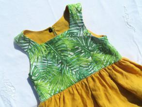 Detské oblečenie - Obojstranné ľanové šaty (Mango) - 13266671_