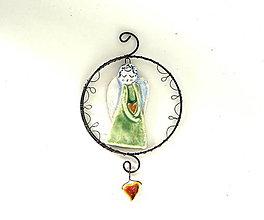 Dekorácie - Anjel so zlatým srdcom - 13263221_