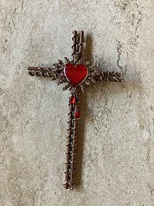 Dekorácie - Drôtikový krížik zo ❤️ - 13268457_