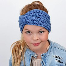 Detské čiapky - KRÍŽENÁ* merino extra čelenka (42 farieb) - 13270130_