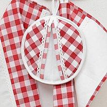 Úžitkový textil - DORA - červené káro veľké - chňapka ø 18cm - 13269659_