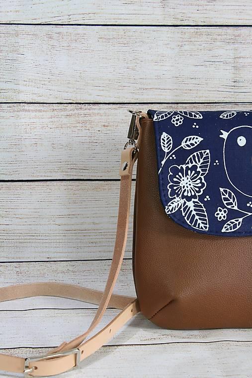 Modrotlačová kožená kabelka Ria AM 3