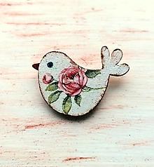 Odznaky/Brošne - brošňa vtáčik ružičkový - 13271116_