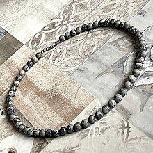 Šperky - Grey Jasper Men Beaded Necklace / Pánsky náhrdelník sivý jaspis - 13271749_