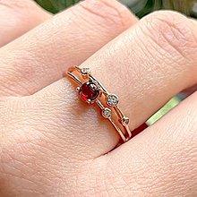 Prstene - Rose Gold Plated Garnet Zircone AG925 Ring / Strieborný pozlátený prsteň s prírodným granátom a zirkónmi  - 13274932_